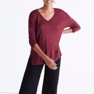 Madewell Maroon Viscose Long Sleeve Anthem Shirt
